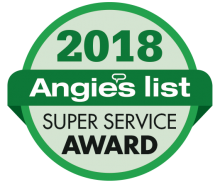 Logo for Angie's List Super Service Award 2018 for CARJON Air Conditioning & Heating in Rhode Island.