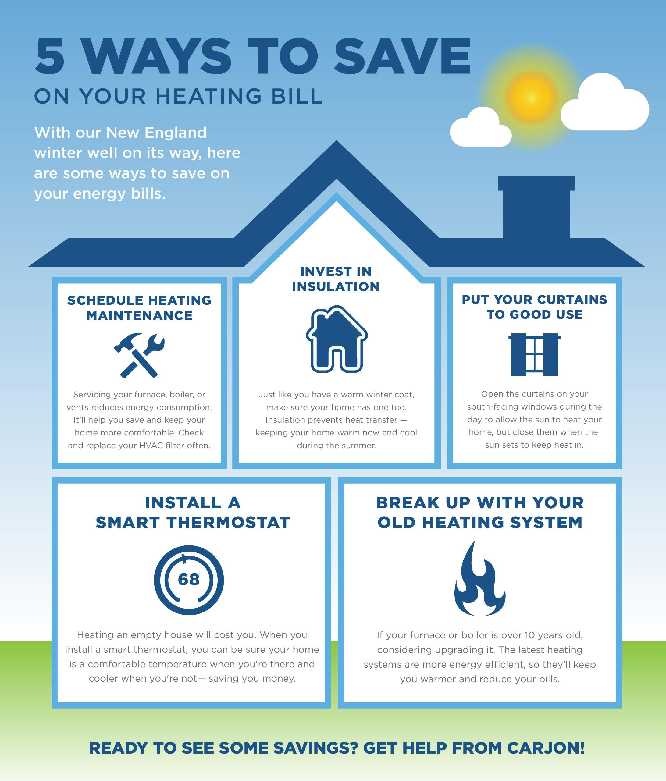 save on your heating bill, energy savings, home efficiency, carjon, ri