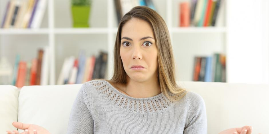 confused woman at home